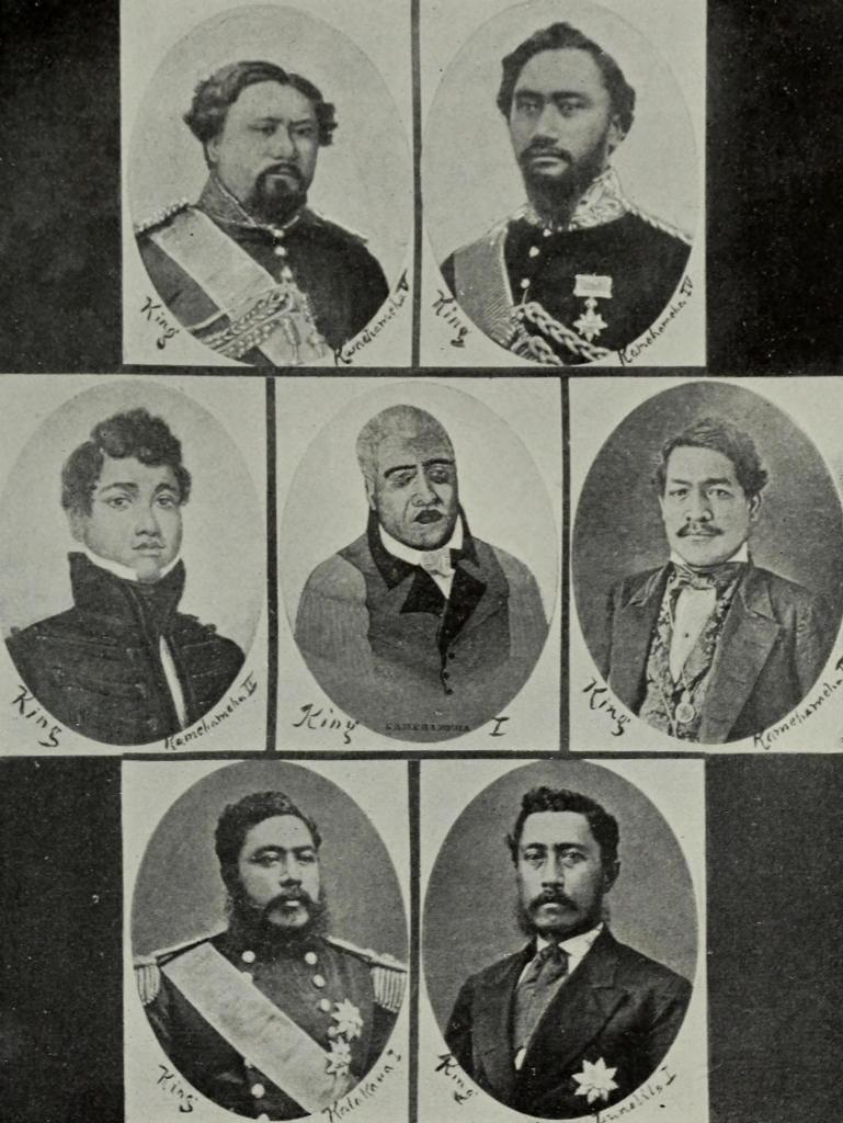 Poczet królów hawajskich. Żródło: Edward Solon Goodhue (1900) Beneath Hawaiian Palms and Stars, The Editor publishing company, s. 176