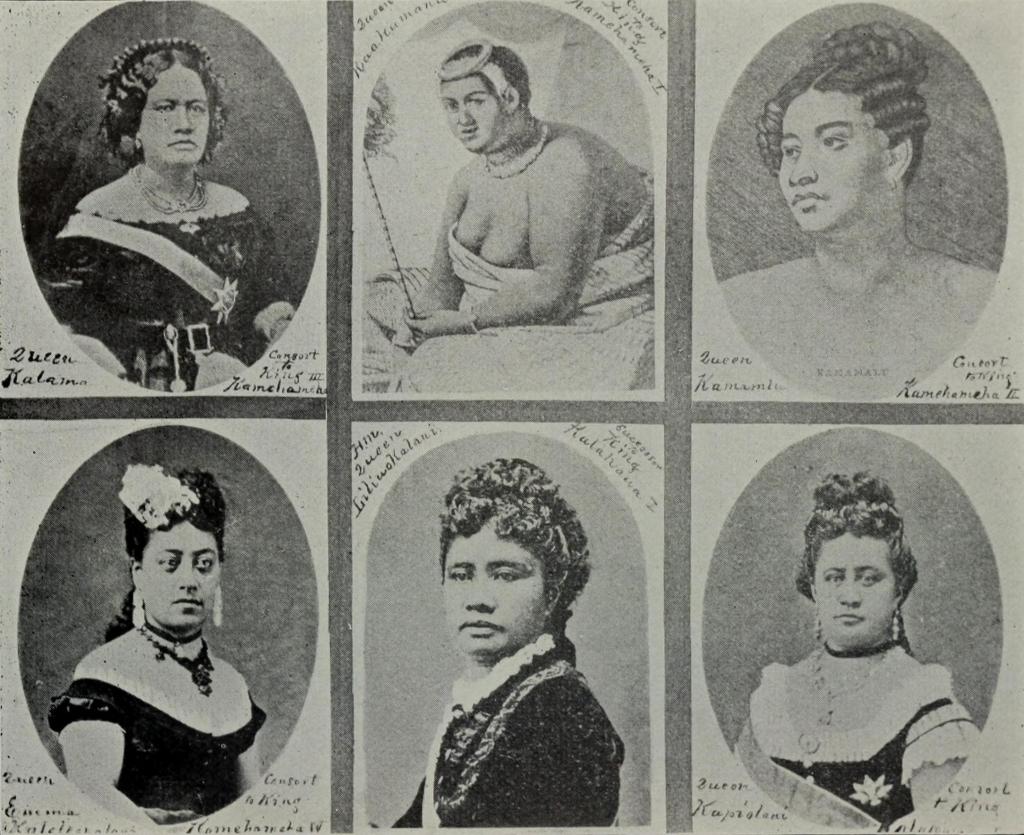Poczet królowych hawajskich. Żródło: Edward Solon Goodhue (1900) Beneath Hawaiian Palms and Stars, The Editor publishing company, s. 178