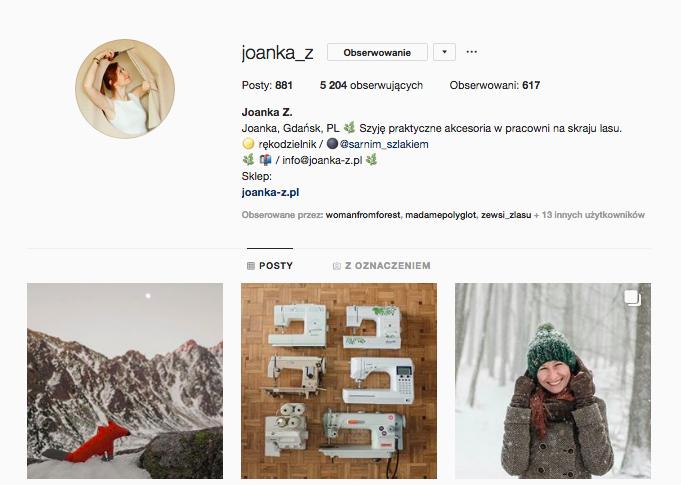 Joanka Zinspirujące profile nainstagramie las wnas magda bębenek szwalnia artystyczna