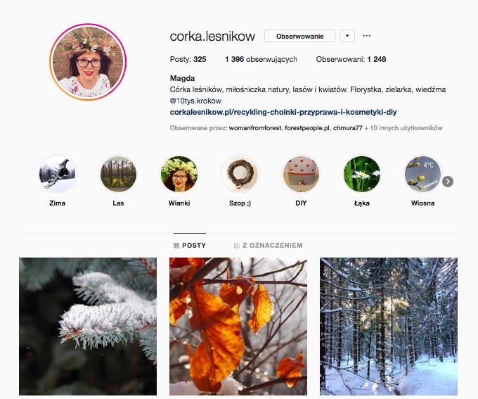 inspirujące profile nainstagramie las wnas magda bębenek córka leśników