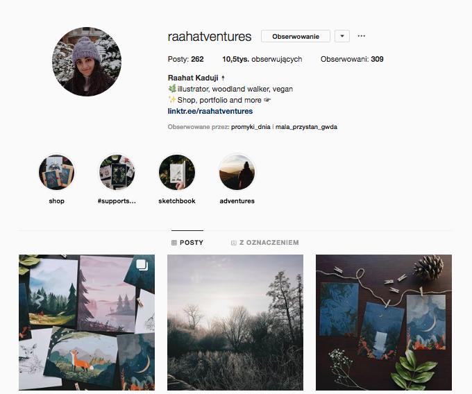 inspirujące profile nainstagramie las wnas magda bębenek raahat kaduji raahatventures ilustracja pocztówki