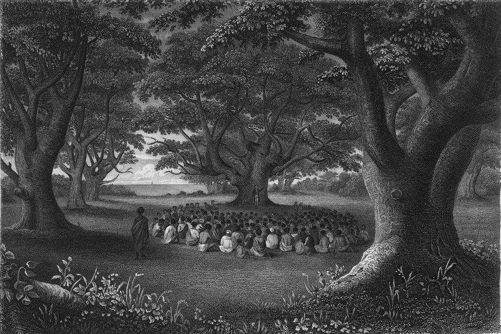 """Misjonarze nauczający wśród drzew kukui. Źródło: Książka """"Narrative of the United States Exploring Expedition"""" Charlsa Wilkesa, 1845"""