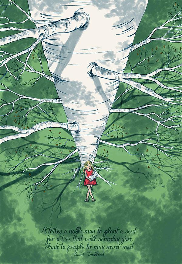 Alyssa Moore magda bębenek ochrona środowiska zrównoważona konsumpcja ekologia zaangażowana sztuka człowiek znatury drzewo