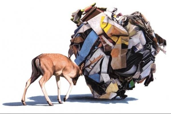 Josh Keyes magda bębenek ochrona środowiska zrównoważona konsumpcja ekologia zaangażowana sztuka jeleń śmieci recycling