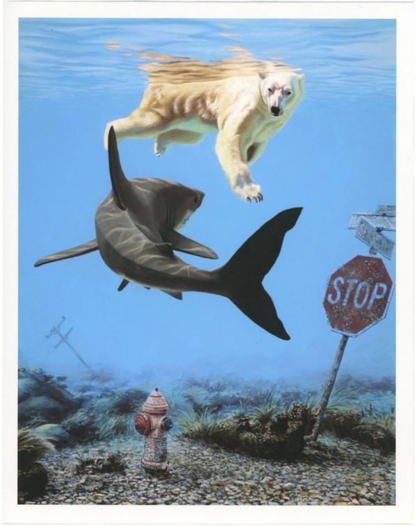 Josh Keyes magda bębenek ochrona środowiska zrównoważona konsumpcja ekologia zaangażowana sztuka niedźwiedź rekin powódź