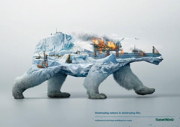 Robin Wood 3 magda bębenek ochrona środowiska lodowiec zrównoważona konsumpcja ekologia zaangażowana sztuka niedźwiedź polarny