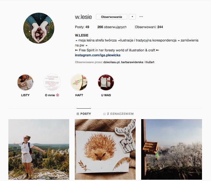 inspirujące profile nainstagramie las wnas magda bębenek wlesie ilustracje Iga Plewicka papeteria